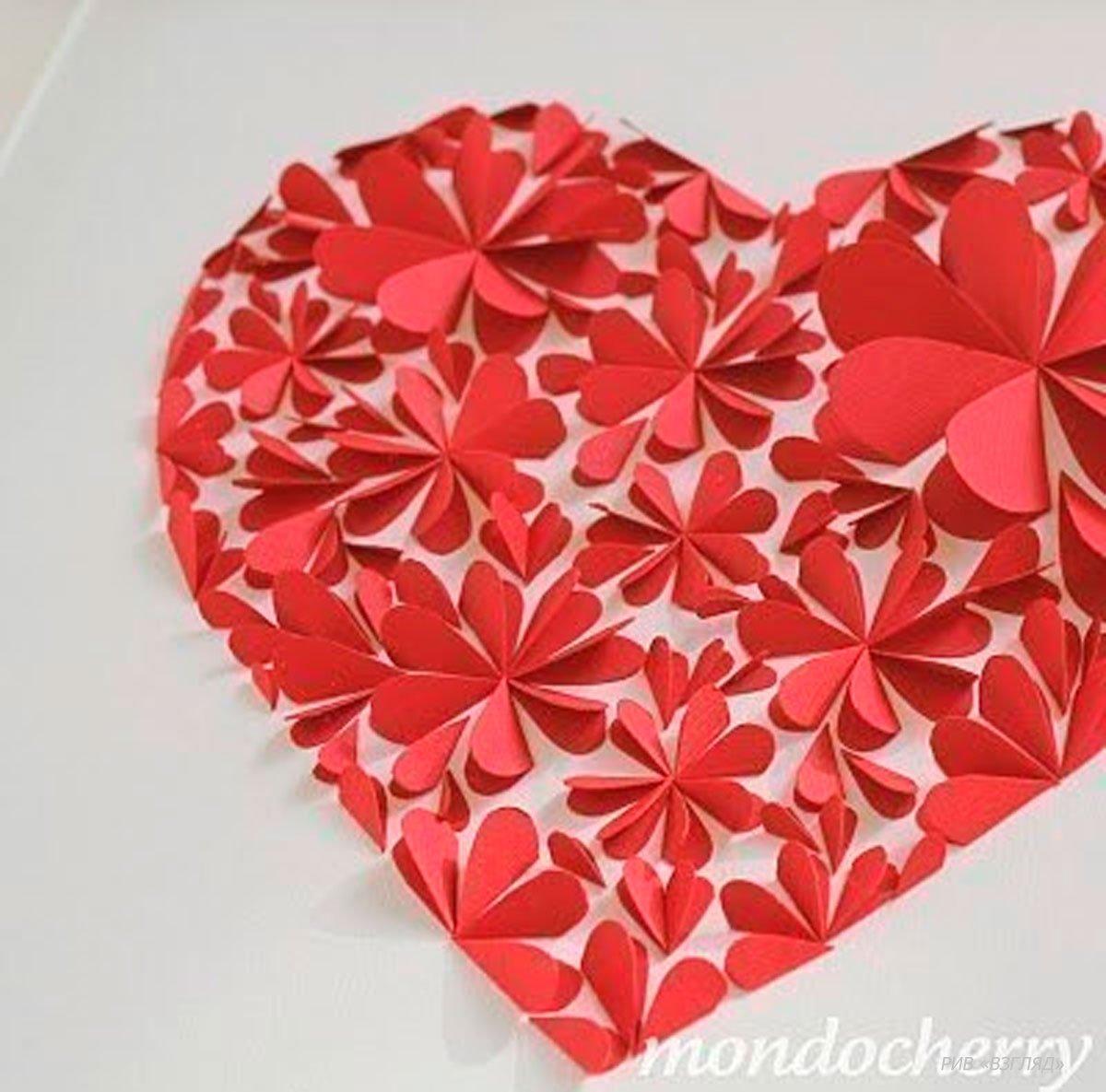 Цветы из сердечек из бумаги своими руками
